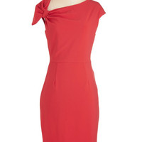 ModCloth Long Cap Sleeves Sheath Keep It Simple, Cupid Dress in Red