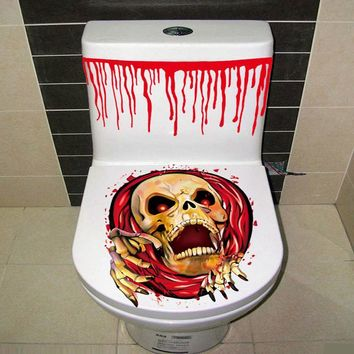Halloween Toilet Cover Sticker 3D Scary Zombie Horror Bloody Hand WC Commode StickerParty Decoration Halloween Prop #L