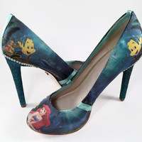 The Little Mermaid Custom Crystal and Pearl Stilettos, Disney Shoes