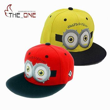2016 Baby Kids Baseball Caps Cartoon Minions Boys Girls Snapback Adjustable Cap Hats Children Flat Hip Hop Cap T025
