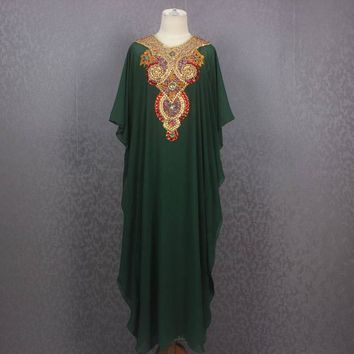 Very Fancy Sequin Caftan Dress, Plus Size Caftan Maxi Dress, Green Moroccan Dubai Abaya Maxi Caftan Dress, Maxi Kaftan Gowns Dresses