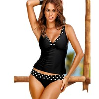OULING Women Sexy V Neck Padded Swimwear Vintage Retro Black Dots Swimsuit Swimwear Two Pieces Tankinis Large Size 3XL