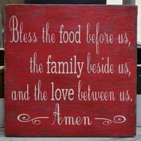 "Beautiful Red Vintage, Kitchen/Dining Room, Blessing Wood Sign, Hand Painted (Ltrs Too), Distressed Rustic Primitive, ""Bless The Food Before"
