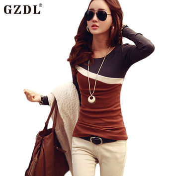 2016 New Spring Autumn T Shirt Women Tops Lady Long Sleeve Contrast Slim Fitted T-Shirt Casual Tee Shirt Blusas Feminino CL1736