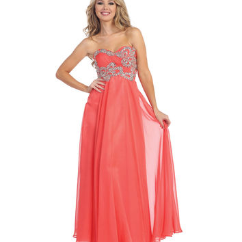 Coral Empire Waist Strapless Beaded Ruched Gown 2015 Prom Dresses