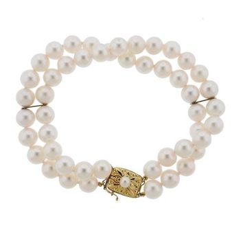 Gorgeous Vintage 18k Gold Mikimoto Double Multi Strand 7-7.5mm Cultured Pearl Bracelet