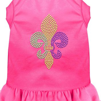 Mardi Gras Fleur De Lis Rhinestone Dress Bright Pink Xl (16)