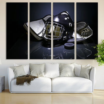 Hockey Canvas Print Wall Art Room Decor / Ice Hockey Art Print Winter Sports Birthday Gift Canada Wall Art / Sports Canvas Print Hockey Gift