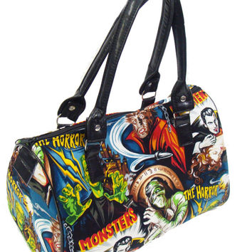 Handbag Doctor bag Satchel Style Monster Frankenstein Horror Movie Robert Kaufman Fabric Cotton Bag Purse, new