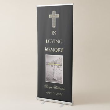 Memorial Service Funeral In Loving Memory Elegant Retractable Banner