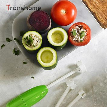 Hot sale 4 pcs Vegetable Spiral Cutter Spiralizer Digging Device Corer Device Corer For Stuffed Vegetables Vege Drill