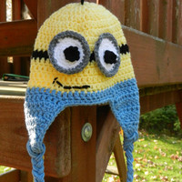 Little Yellow Guy-Minion Inspired Hat--Size Medium Ready to Ship