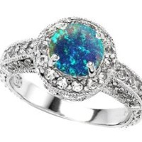 Star K 7mm Round Created Blue Opal Engagement Ring Size 6