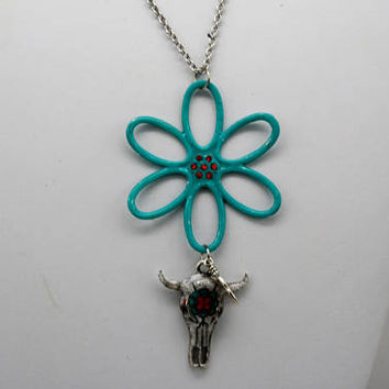 Boho Flower and Cow Skull Necklace, Cow Skull Necklace, Painted Flower Pendant, Bohemian Flower Necklace