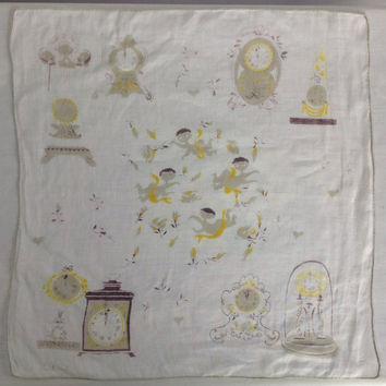 Vintage Novelty Time Handkerchief Clocks Angels Cherubs Pat Prichard