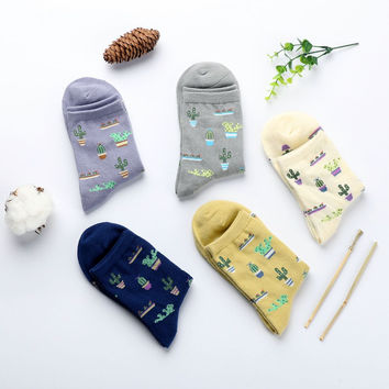 New Plant Cactus Pattern Women Girl Comfortable Lovely Cute Socks Cotton Casual Warm Soft Socks