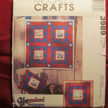 "SALE Uncut 2003 McCall's Sewing Pattern, 3989! Homeland Treasures/Arts & Crafts/Quilting/American Farm Quilt/14"" Quilt Blocks/Pillows/Motifs"