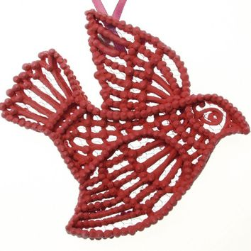 Bird Ornament Red Love, Handmade Decorative Hanging Ornament, Sugar Fun Royal Icing