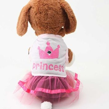 Lovely Crown Princess Dress Pink Apparel Costume Dog Clothes
