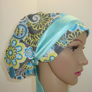 ELEGANT Tropical FLOWERS on Grey-Handmade-Mini Chemo-Cap-Woman, Vet Tech, Nurses-100 % Cotton/SATIN