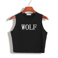 Women Summer Crop Top WOLF Letters Funny Sexy Slim Shirt For Tank Top Tee Hipster Vest Black White Drop Ship TZ20-839