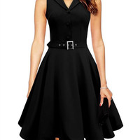 V-neck Collar Sleeveless Belted Midi Skater Dress