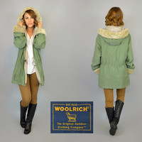 vintage 80's FAUX FUR hooded outdoors WOOLRICH parka raincoat windbreaker, extra small-medium