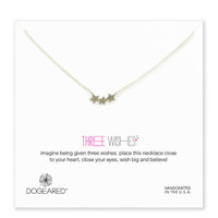 three wishes triple star necklace, sterling silver, 18 inch