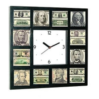 USD 100 50 20 10 5 1 Dollar Bill front and back Money Clock sales man cave