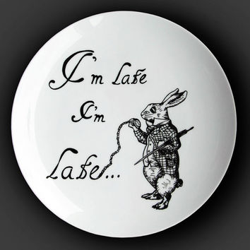 Illustrated ceramic plate, Black and White Pen and Ink Alice in Wonderland drawing - I'm Late.