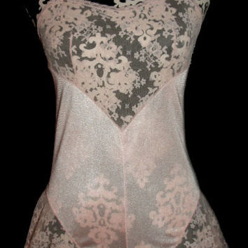 Vintage GLYDONS Teddy Peach Pink Lace Step In Chemise S 32 34