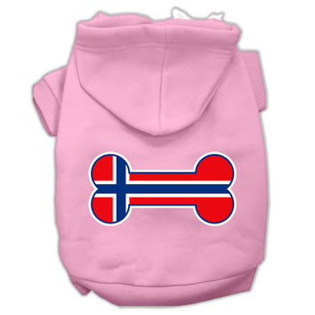 Bone Shaped Norway Flag Screen Print Pet Hoodies Light Pink Size XL (16)