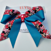 Minnie Cheer Bow - Minnie Pink Teal Bow