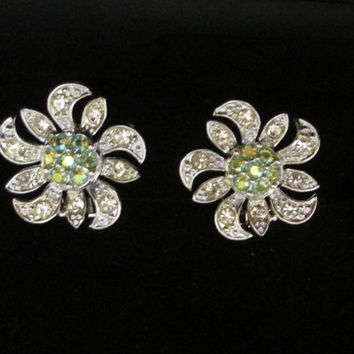 Vintage Sarah Coventry Aurora Borealis Earrings Silver Tone  AB Flower Clip Ons