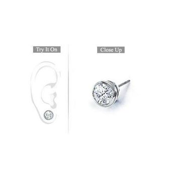 LMFMS9 Mens 14K White Gold : Bezel-Set Round Diamond Stud Earrings 1.00 CT. TW.