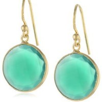 18KT Yellow Gold Plated Sterling Silver Bezel Set Round Faceted Green Onyx Drop Earrings, 1.25""