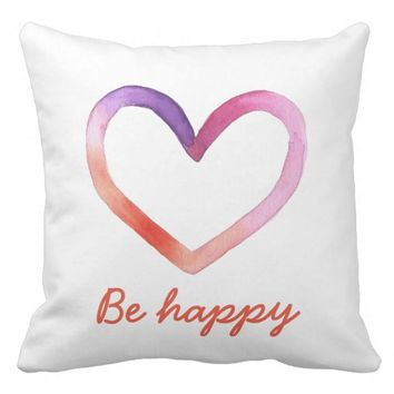 Be Happy Watercolor Pillow