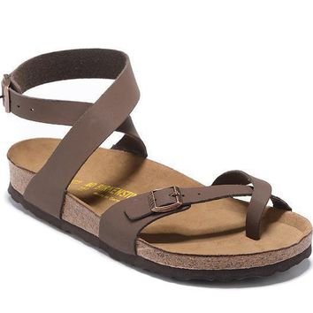 2017 Birkenstock Summer Fashion Leather Cork Flats Beach Lovers Slippers Casual Sandal