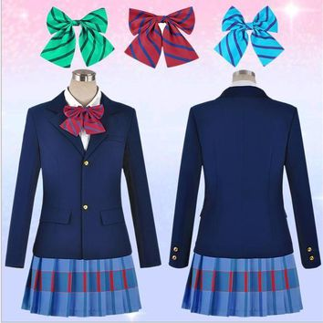 Halloween Party Lovelive School Uniforms Japanese Anime Love Live Cosplay Costumes Blazer+Skirt + 3 Piece Neck tie