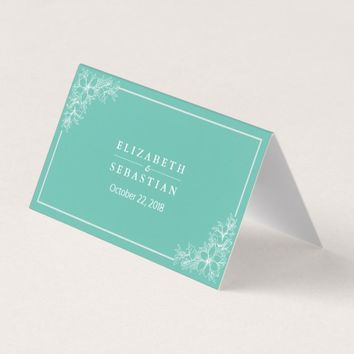 Modern Teal White Floral Table Number Seating Name Place Card