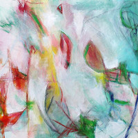 """Expressionist Abstract Painting Acrylic Art """"Happy Reunion"""""""