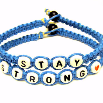 Stay Strong Bracelets, Bright Blue Macrame Hemp Jewelry, Recovery Bracelets, Made to Order - Free North American Shipping