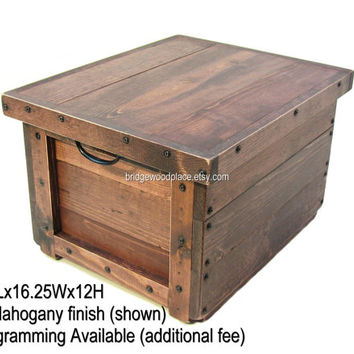 Wood Crate, Wooden Box, Wood Bin, Wooden Tote, Carry-all, Small Side Table, Small End Table, Nightstand with Reversible Tray/Lid, Monogram