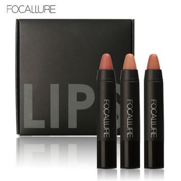 FOCALLURE Long-lasting Matte Lipstick set Velvet Nude Tattoo True Brown Color Red Pencil Lipstick Crayon Lot Makeup Set