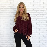 Love Song Plush Knit Sweater in Wine