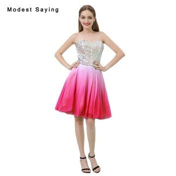 Sexy Ombre Pink A-Line Short Cocktail Dresses 2018 with Rhinestone Girls Formal Homecoming Party Prom Gowns vestidos de coctel