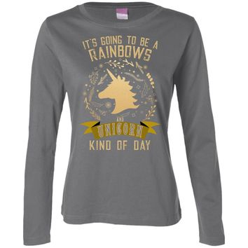 It's Going to be a Rainbows and Unicorns 3588 LAT Ladies' LS Cotton T-Shirt