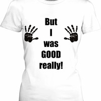 Naughty black hands girls fit white tee shirt, funny clipart apparel, kinky bust grab