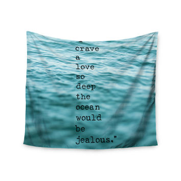 "Debbra Obertanec ""Crave Love"" Blue Ocean Wall Tapestry"