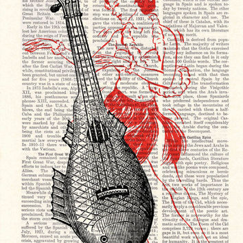 Ukelele Upcycled Dictionary Page Upcycled Book Art Upcycled  Print Vintage Art Print Ukelele Lady Print